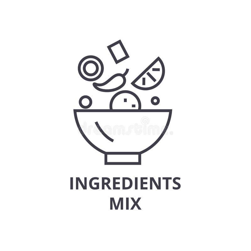 Los ingredientes mezclan la línea icono, muestra del esquema, símbolo linear, vector, ejemplo plano stock de ilustración