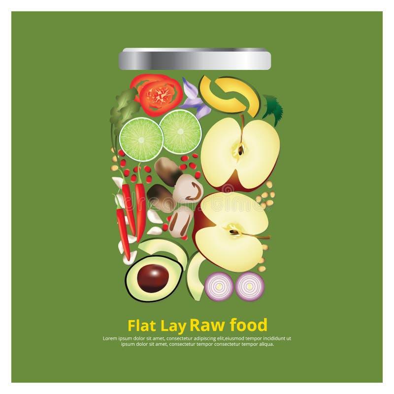 Los ingredientes planos del diseño de la endecha para la comida en esquema del cuenco vector el ejemplo ilustración del vector