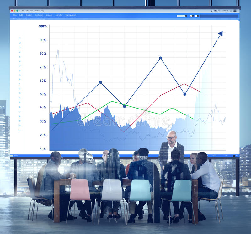 Los ingresos del aumento de las ventas del negocio comparten concepto foto de archivo