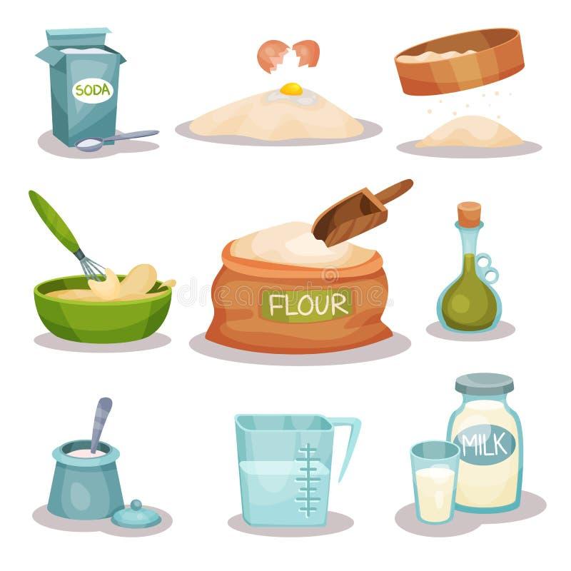 Los ingridients de la panadería fijaron, los utensilios de la cocina y los productos para cocer y cocinar ejemplos del vector en  ilustración del vector