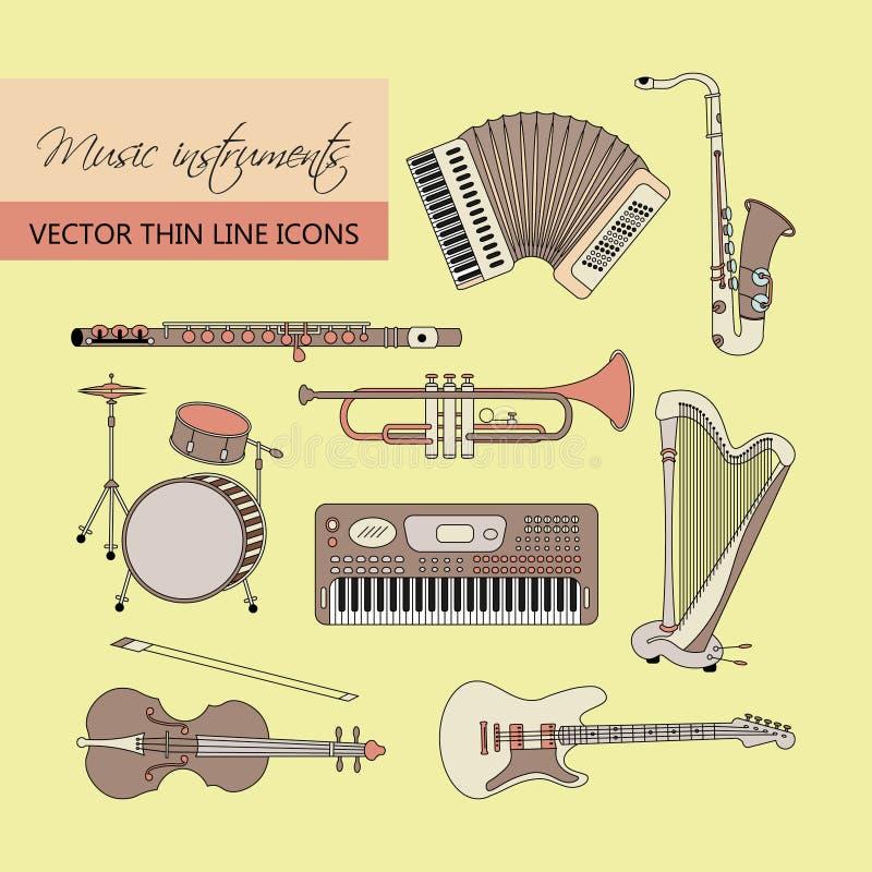 Los instrumentos de música enrarecen la línea icono fijado para el web y el móvil ilustración del vector