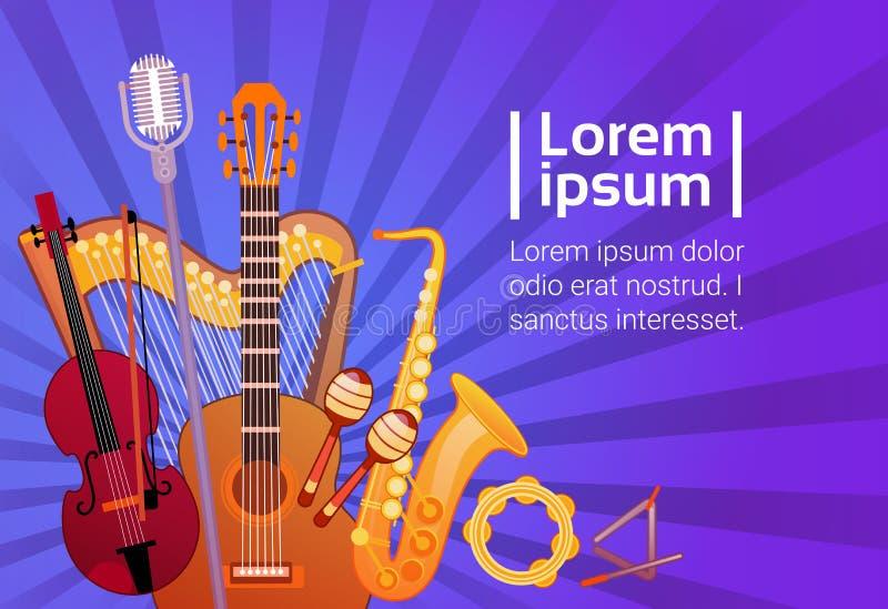 Los instrumentos de música fijaron la bandera con concepto del Musical del espacio de la copia stock de ilustración