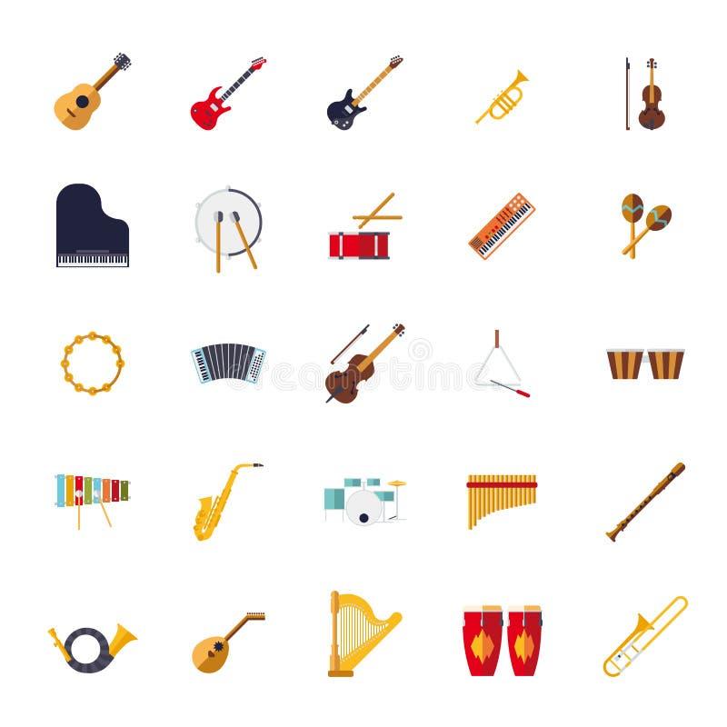 Los instrumentos musicales aislaron la colección plana de los iconos del vector del diseño ilustración del vector