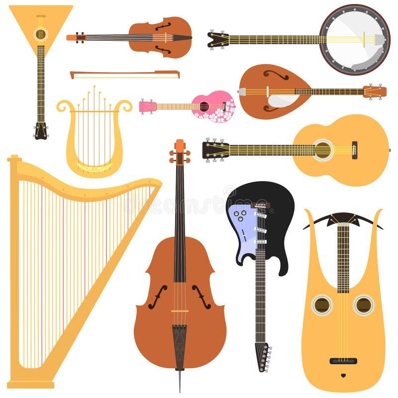 Los instrumentos musicales atados fijaron la herramienta clásica del sonido del arte de la orquesta y la sinfonía acústica ató el stock de ilustración
