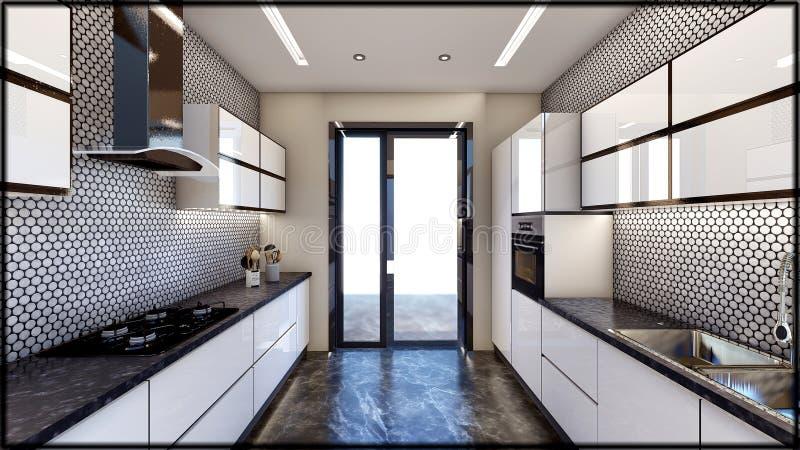 Los interiores y la casa completa 3d de la cocina de la casa rinde ilustración del vector