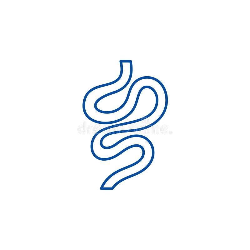 Los intestinos alinean concepto del icono Símbolo plano del vector de los intestinos, muestra, ejemplo del esquema libre illustration