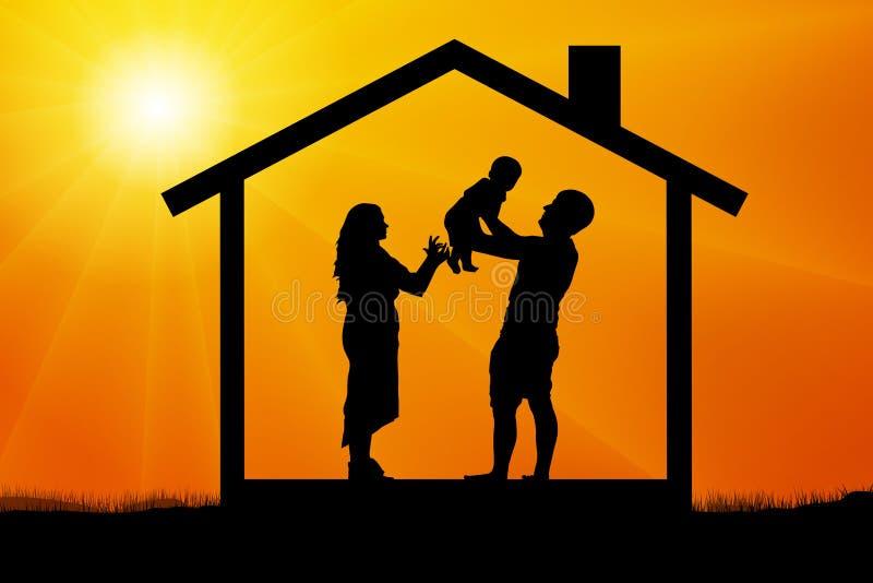 Los jóvenes casados se juntan son felices con la aparición de un niño, silueta en la puesta del sol libre illustration