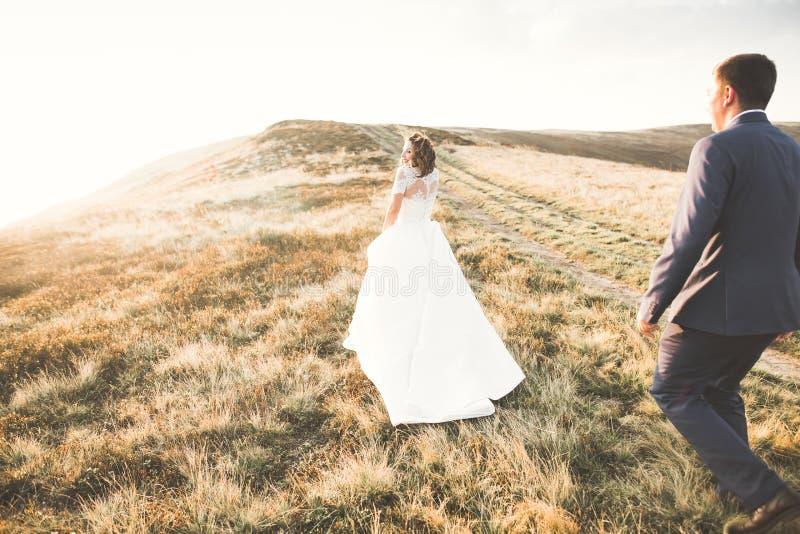 Los jóvenes se casan nuevamente besarse de los pares, de novia y del novio, abrazando en la vista perfecta de montañas, cielo azu fotografía de archivo