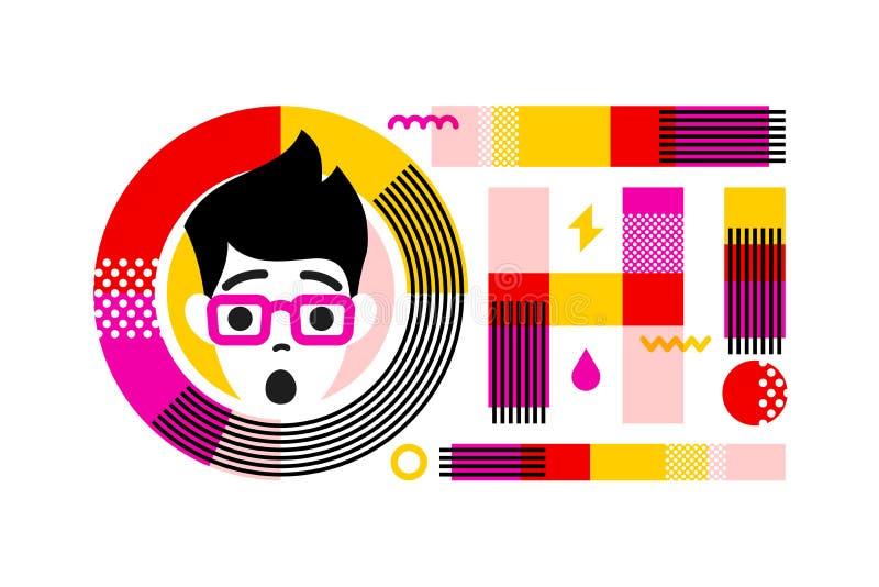 Los jóvenes sorprendieron y chocaron el carácter masculino en el marco de poner letras al lema OH Emoji hermoso del muchacho del  stock de ilustración