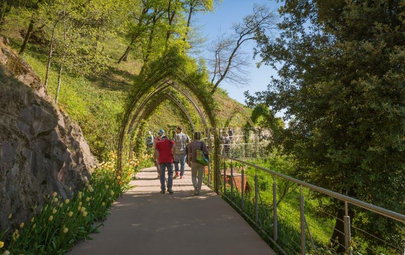 Los jardines botánicos de Trauttmansdorff se escudan, Merano, el Tyrol del sur, Italia, fotos de archivo libres de regalías