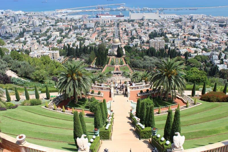 Los jardines de Bahai fotos de archivo