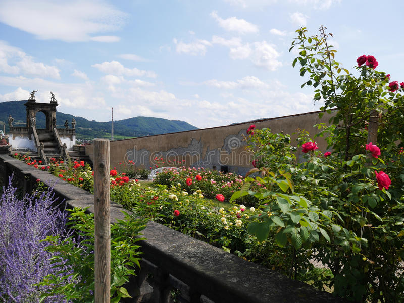 Los jardines Decin del castillo fotos de archivo libres de regalías