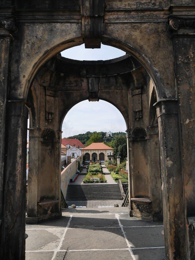 Los jardines Decin del castillo fotografía de archivo libre de regalías