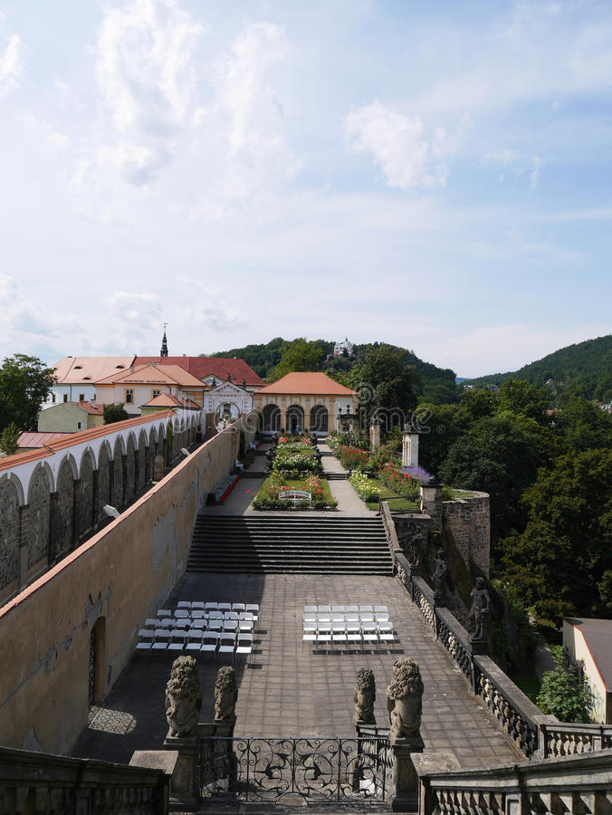 Los jardines Decin del castillo imagen de archivo