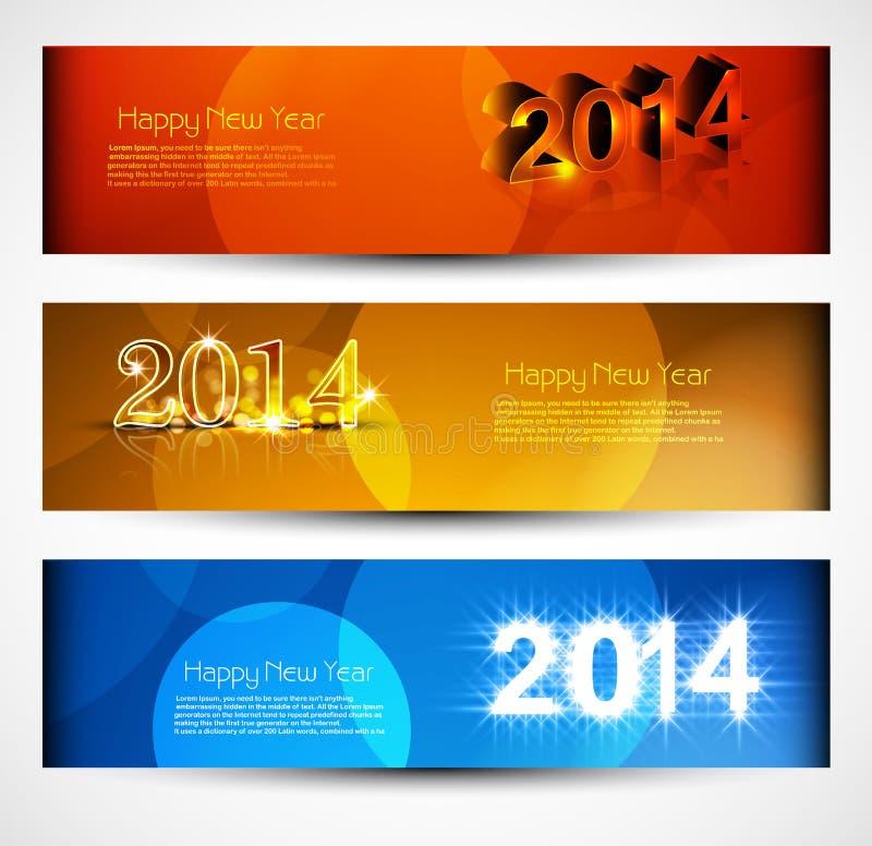 Los jefes y las banderas fijaron el Año Nuevo 2014 stock de ilustración