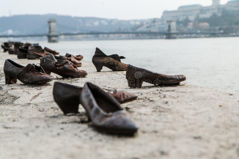 Los judíos asesinan el monumento por Danubio en Budapest foto de archivo libre de regalías