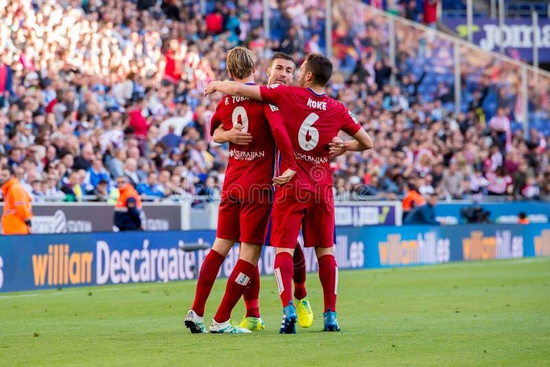 Los juegos de Antoine Griezmann en el La Liga hacen juego entre el RCD Espanyol y Atletico de Madrid en el estadio de Powerade fotografía de archivo