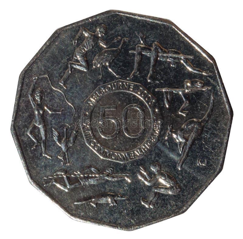 Los juegos 2006 de la Commonwealth de Melbourne diecisiete 50 monedas australianas de los centavos, aisladas en el fondo blanco imagen de archivo