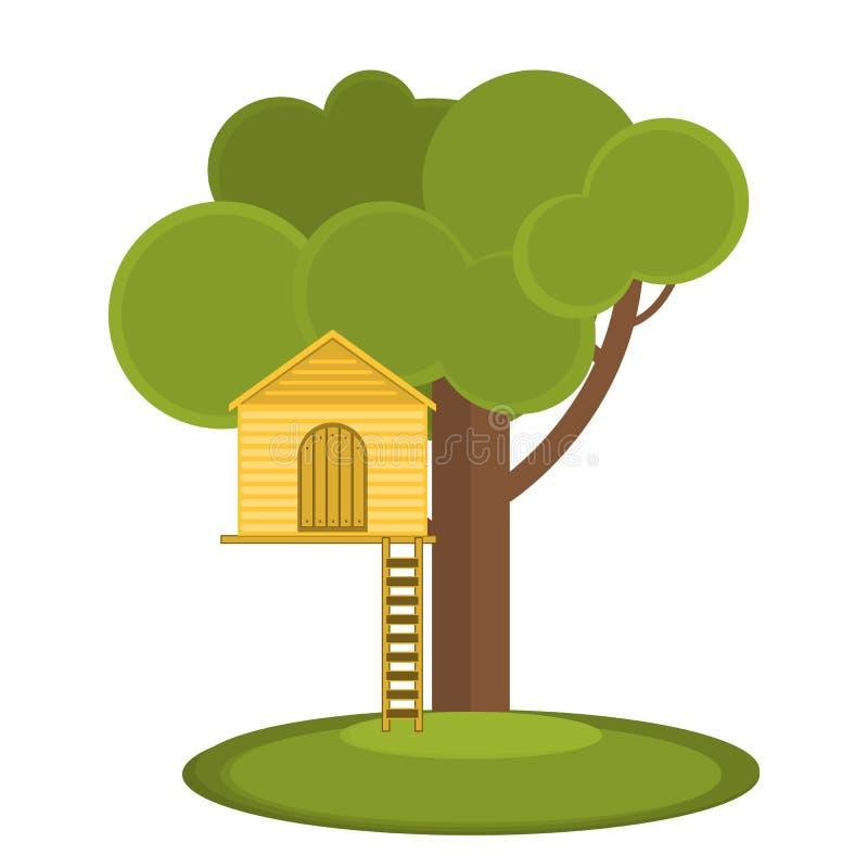 Los juegos de los niños de la casa en el árbol Teatro del vector en el árbol Lugar secreto ilustración del vector