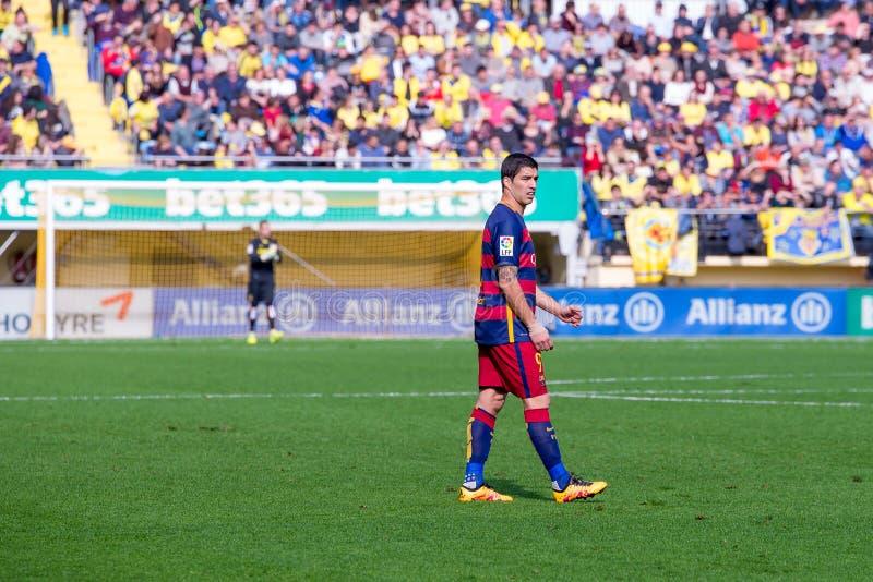 Los juegos de Luis Suarez en el La Liga hacen juego entre el Villarreal CF y el FC Barcelona fotografía de archivo libre de regalías