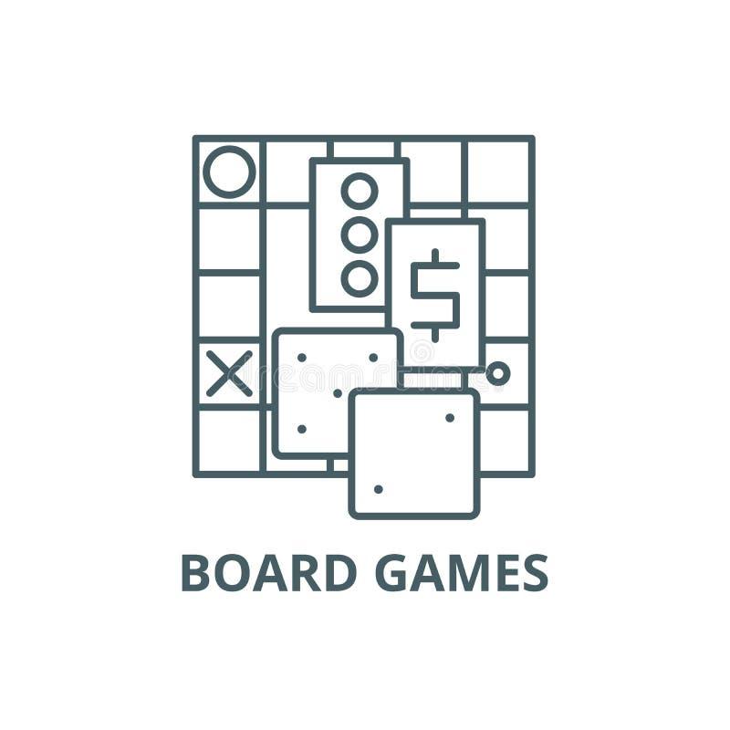 Los juegos de mesa alinean el icono, vector Muestra del esquema de los juegos de mesa, símbolo del concepto, ejemplo plano libre illustration