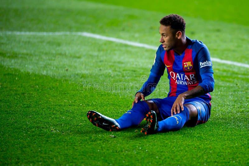 Los juegos de Neymar en el La Liga hacen juego entre el Villarreal CF y el FC Barcelona fotografía de archivo
