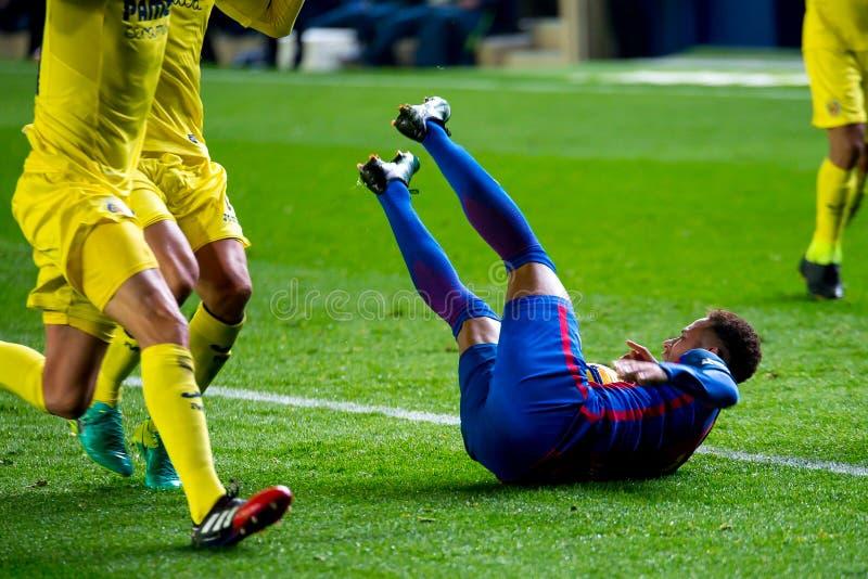 Los juegos de Neymar en el La Liga hacen juego entre el Villarreal CF y el FC Barcelona imagenes de archivo