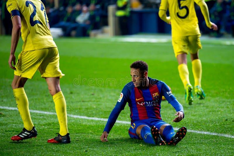 Los juegos de Neymar en el La Liga hacen juego entre el Villarreal CF y el FC Barcelona foto de archivo