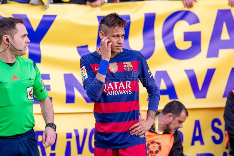 Los juegos de Neymar en el La Liga hacen juego entre el Villarreal CF y el FC Barcelona en el estadio del madrigal del EL foto de archivo