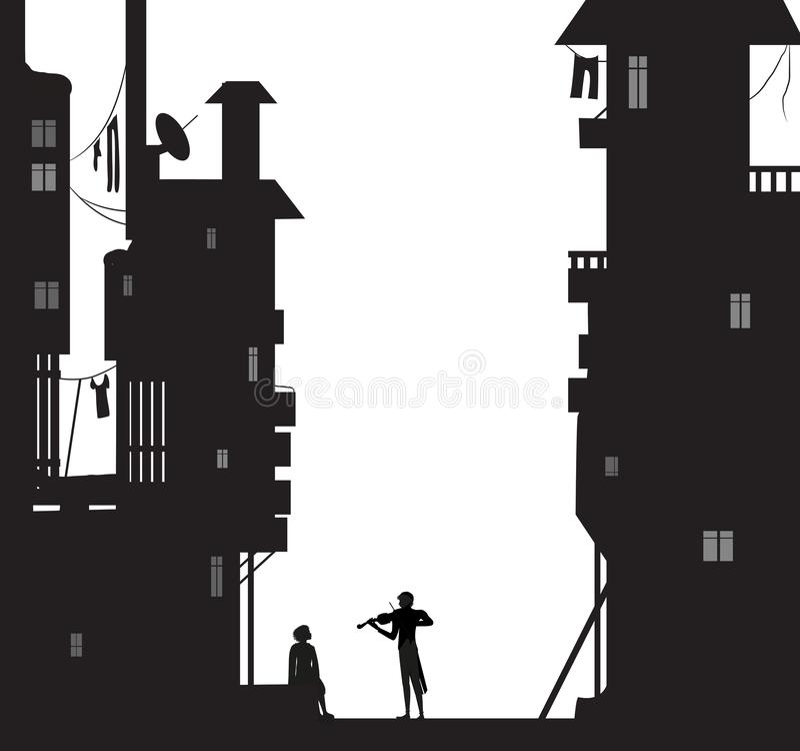Los juegos del Violist para el soñador de la noche de la muchacha de s, muchacho se sientan cerca de las casas de la ciudad y mir ilustración del vector