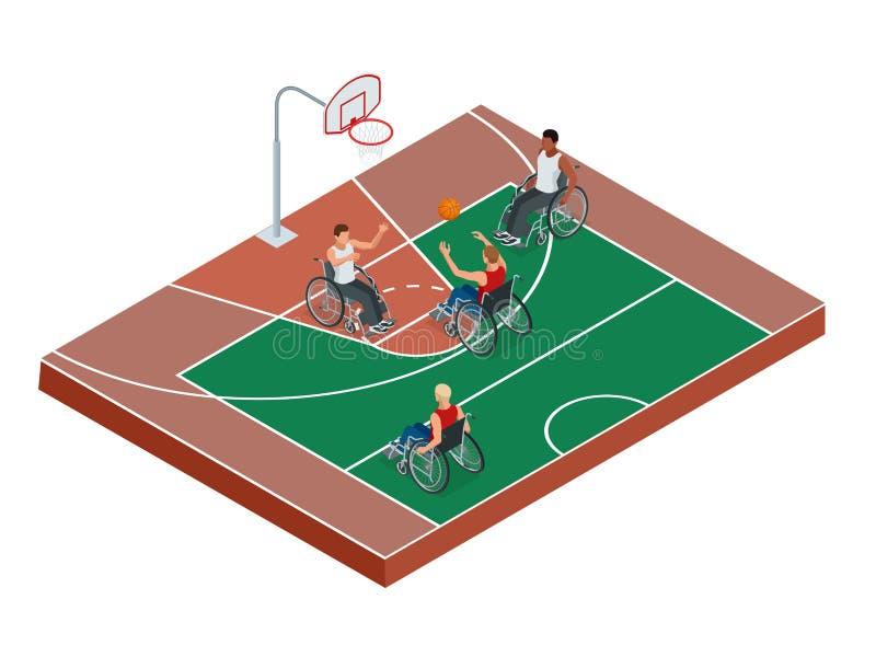 Los jugadores de básquet discapacitados sanos activos isométricos de los hombres en una silla de ruedas detallaron el fondo del e stock de ilustración