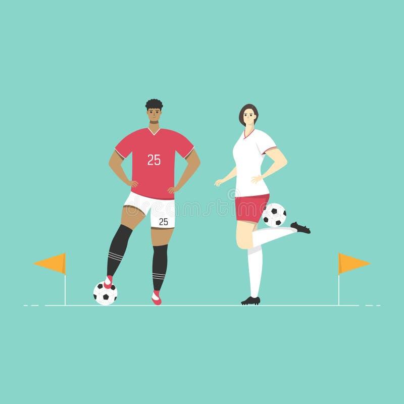 Los jugadores de fútbol se están colocando con las banderas de la esquina del fútbol Diseño plano del deporte del carácter stock de ilustración
