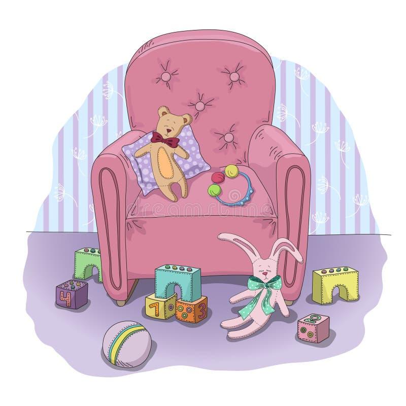 Los juguetes de los niños en el cuarto ilustración del vector
