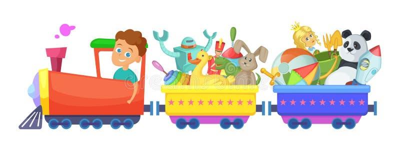 Los juguetes de los niños en tren Aislante de los ejemplos de la historieta del vector en blanco stock de ilustración