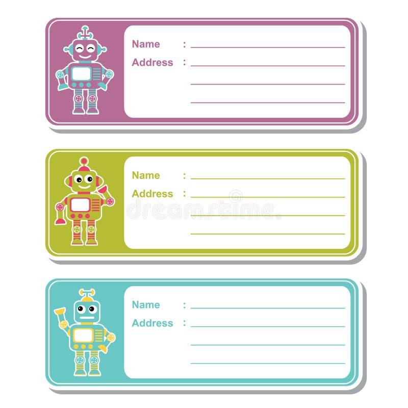 Los juguetes del robot en el fondo colorido conveniente para la etiqueta de dirección del niño diseñan ilustración del vector