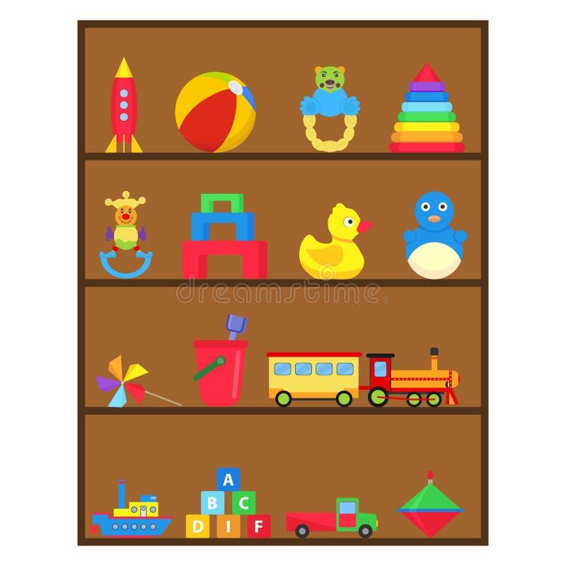Los juguetes del ` s de los niños, un sistema del ` s de los niños juegan en el estante libre illustration
