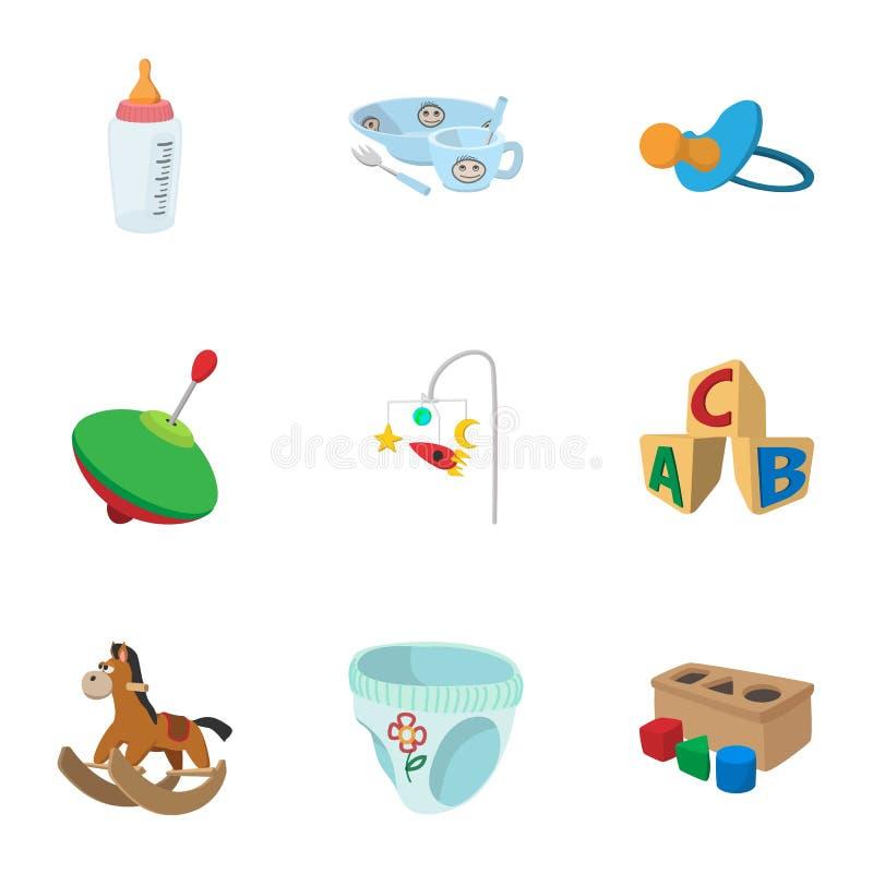 Los juguetes para los iconos de los niños fijaron, estilo de la historieta ilustración del vector