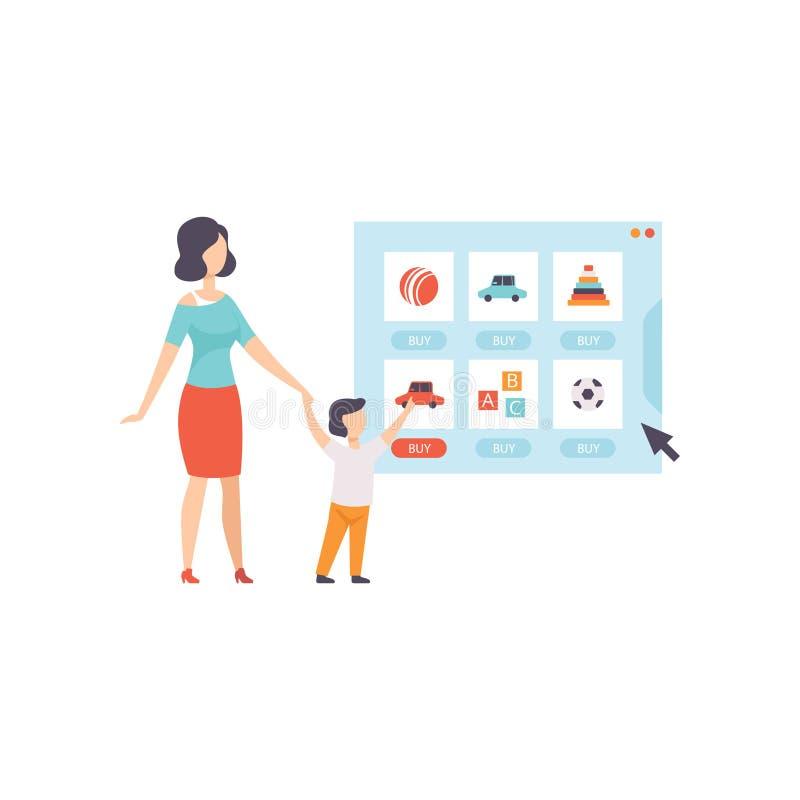 Los juguetes que eligen y bying de la mamá y de su hijo de una tienda en línea, de compras de Internet y de un concepto de la ent ilustración del vector