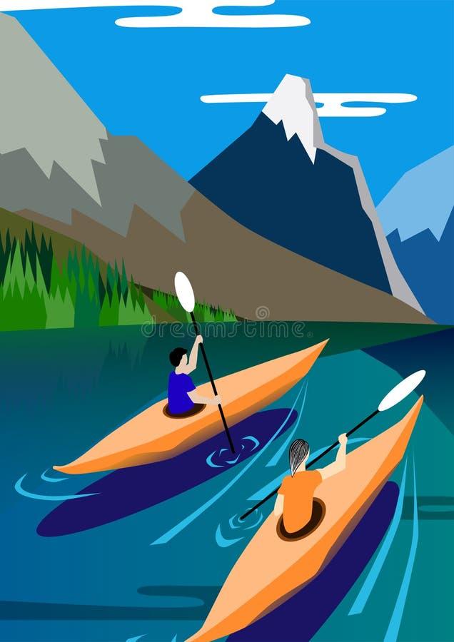 Los Kayakers flotan en el lago, las montañas fondo, la naturaleza, la paz y la serenidad Bandera del ejemplo del vector stock de ilustración