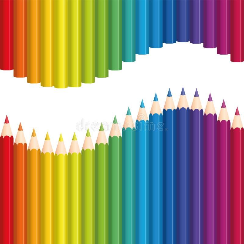 Los lápices coloreados arco iris de los creyones agitan inconsútil ilustración del vector