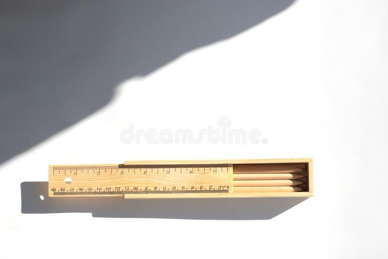 Los lápices en una caja de lápiz están en la tabla en luz del día brillante Madera sin pintar natural materiales respetuosos del  ilustración del vector