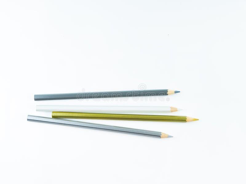 Los lápices multicolores con el espacio libre para el texto en el fondo blanco, lápices del color aislaron imagen de archivo libre de regalías