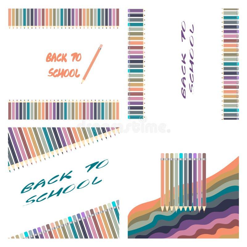 Los lápices Varicolored del color fijaron aislado en el fondo blanco Fuentes de oficina stock de ilustración