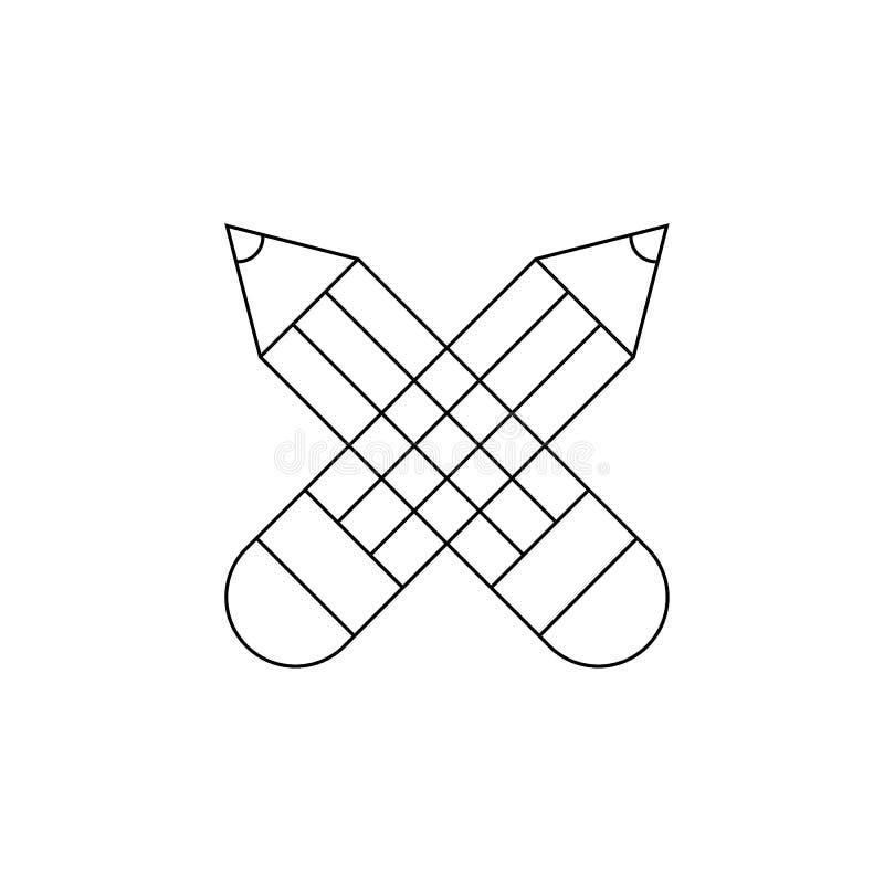 Los l?pices cruzados alinean el icono, muestra del vector del esquema, pictograma linear del estilo aislado en blanco S?mbolo del stock de ilustración