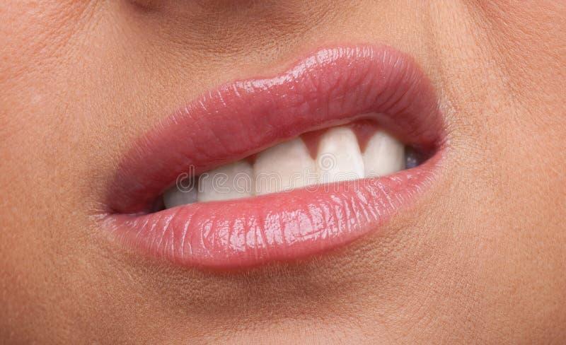 Los labios de la mujer de la belleza encolerizan el primer de las emociones imagenes de archivo