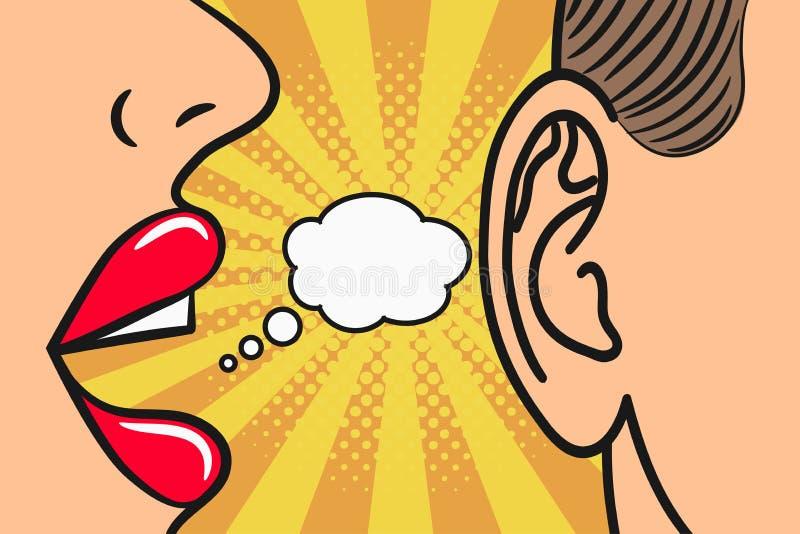 Los labios de la mujer que susurran adentro sirven el oído con la burbuja del discurso Estilo del arte pop, ejemplo de cómic Conc stock de ilustración