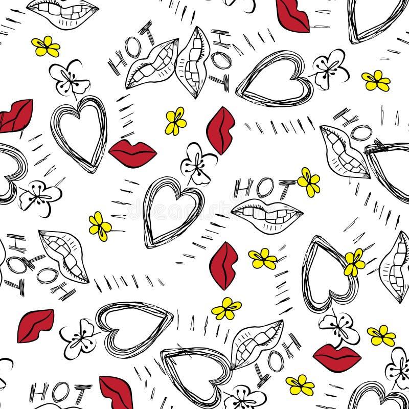 Los labios del corazón florecen el modelo dibujado mano en el fondo blanco Ilustración del vector stock de ilustración