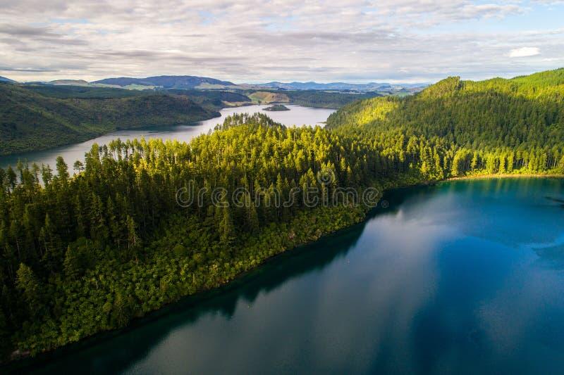 Los lagos verdes y azules hermosos de Rotorua Nueva Zelanda de un tiro aéreo del paisaje del abejón imagen de archivo