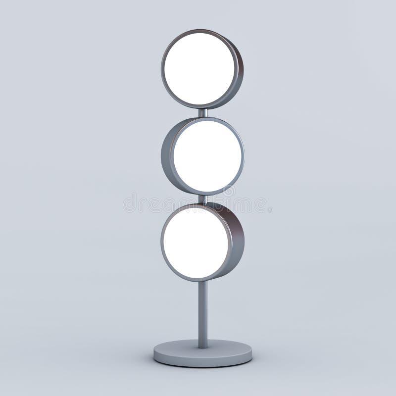 Los letreros ligeros en blanco del círculo con el polo colocan mofa en blanco encima de tableros de la señalización o la publicid fotografía de archivo libre de regalías