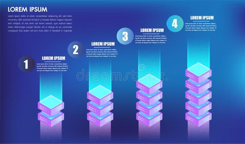 Los leves o los pasos isométricos de las opciones del diseño 4 del infographics para las cajas del éxito 3d del concepto del nego stock de ilustración